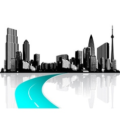 City with skyscrapers reflected in water vector image vector image