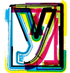Colorful Grunge Font LETTER y vector