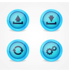 Computer signs on glossy icons vector