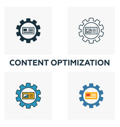 content optimization icon set four elements in vector image