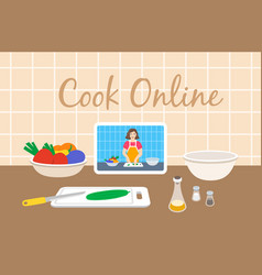 cooking food with online culinary video tutorial vector image