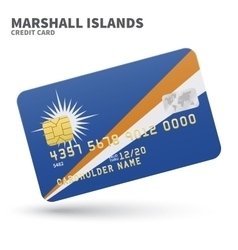 Credit card with Marshall Islands flag background vector