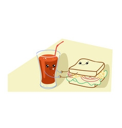 cute sandwich with tomato juice cartoon comic vector image