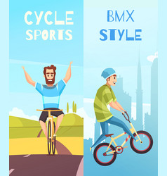 cycle racing vertical cartoon banners vector image