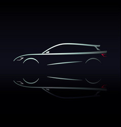 design car silhouette on black background vector image vector image