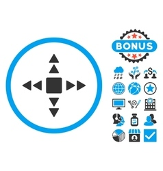 Direction Triangles Flat Icon with Bonus vector image