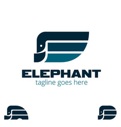 E letter based elephant shape symbol set vector