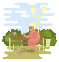 Elderly woman outdoors vector