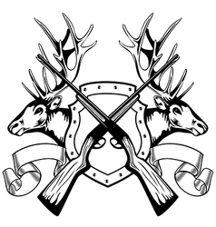 Elk heads crossed rifle and board vector