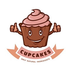 emblem cupcake vector image