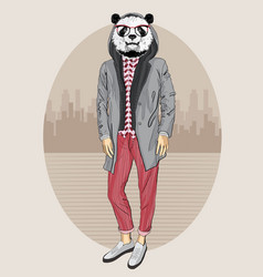 Fashion panda portrait vector