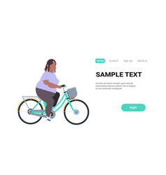 fat obese woman riding bike overweight girl vector image