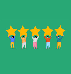 five stars rating flat style concept vector image