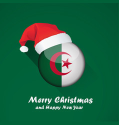 flag of algeria merry christmas and happy new vector image