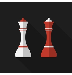 Flat chessman with long shadow icon vector image