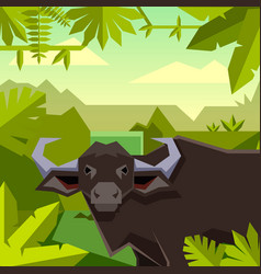 Flat geometric jungle background with buffalo vector