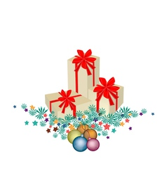 Gift Boxes on Fir Twigs and Christmas Balls vector image