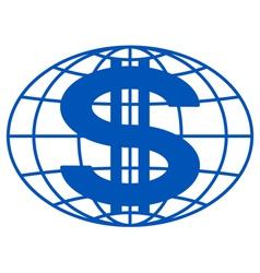 Globe and dollar vector