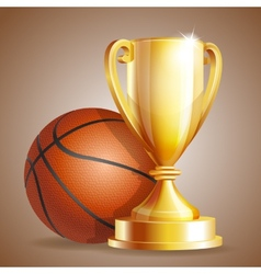 Golden trophy cup with a Basketball ball vector