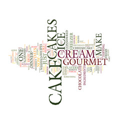 Gourmet cakes text background word cloud concept vector