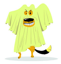 Halloween dog character in ghost costume cartoon vector