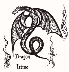 Hand drawn tattoo with engraved dragon vector