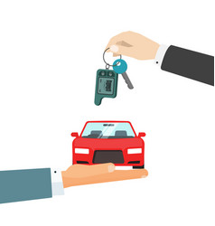 hands giving car and car keys vector image