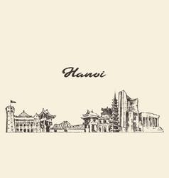 Hanoi skyline vietnam hand drawn sketch vector