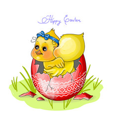 happy eastertwo chicken sit vector image