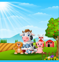 Happy little animals in the farm vector