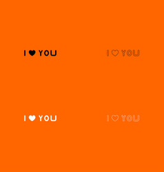 I love you black and white set icon vector