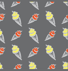 ice cream in waffle cupseamless pattern vector image