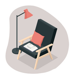 isometric comfortable black wooden armchair vector image