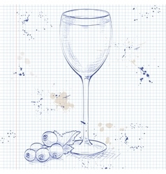 Kir alcohol cocktail on a notebook page vector image