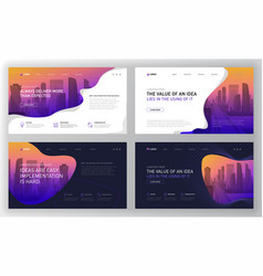 Landing page templates set for business vector