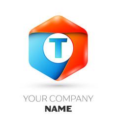 Letter t logo symbol in colorful hexagonal vector