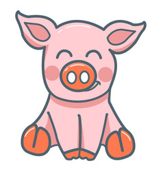 little pig flat style vector image