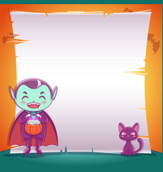 little vampire with black kitten happy halloween vector image