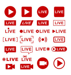 live streaming icons broadcasting video news tv vector image