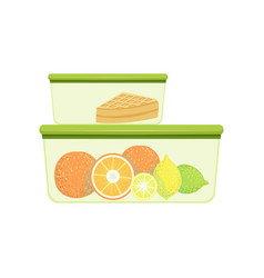 Lunch boxes with oranges lemons and pie healthy vector