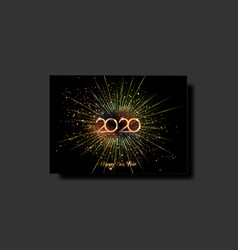 luxury vip card happy new year 2020 gold text vector image
