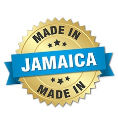 Made in Jamaica gold badge with blue ribbon vector
