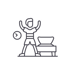 morning gymnastics line icon concept morning vector image