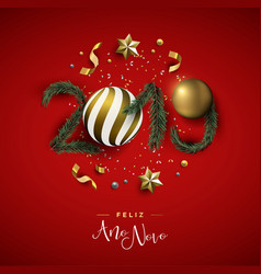 new year 2019 red holiday decoration in portuguese vector image