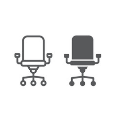 office chair line and glyph icon office vector image