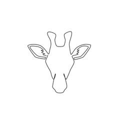 One single line drawing giraffe head vector