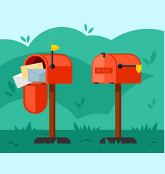 opened and closed mailbox red vector image