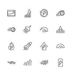Performance- flat line icons vector