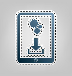 phone icon with settings symbol blue icon vector image vector image