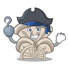 Pirate oyster mushroom character cartoon vector